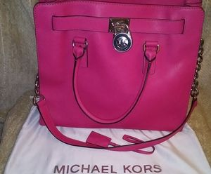 MICHAEL KORS  Lg Bright Pink Leather Hamilton Bag